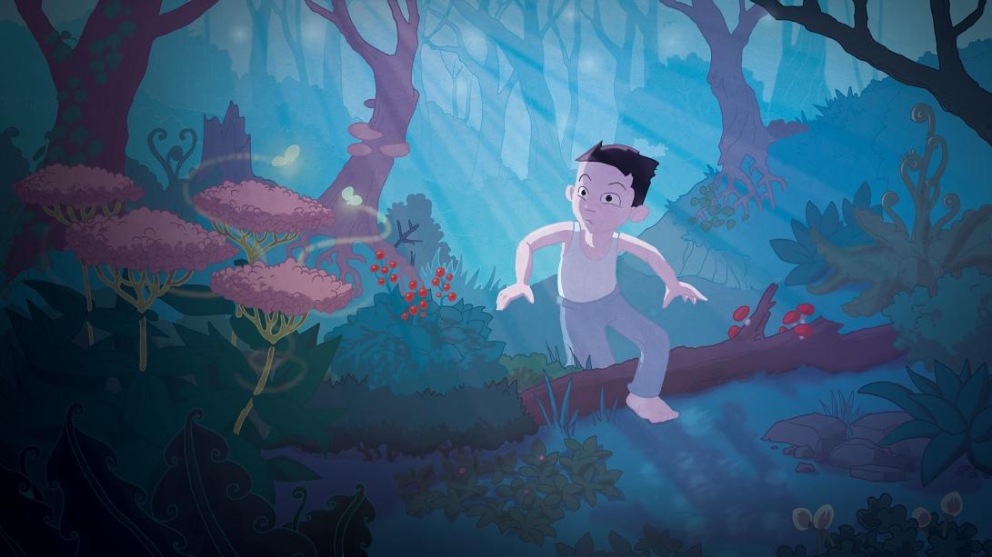 Ian marche dans la forêt.